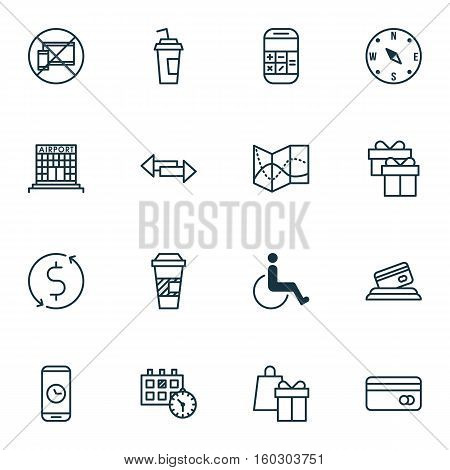 Set Of 16 Transportation Icons. Can Be Used For Web, Mobile, UI And Infographic Design. Includes Elements Such As Paper, Accessibility, Crossroad And More.