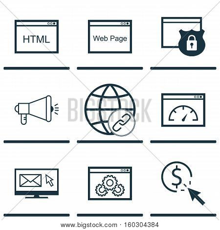 Set Of 9 SEO Icons. Can Be Used For Web, Mobile, UI And Infographic Design. Includes Elements Such As Community, Web, Code And More.