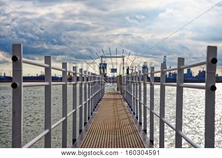 Narrow steelpath at the dock angle shot