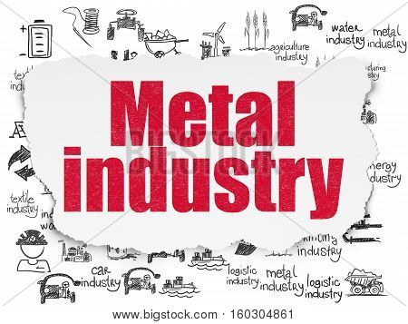 Industry concept: Painted red text Metal Industry on Torn Paper background with  Hand Drawn Industry Icons