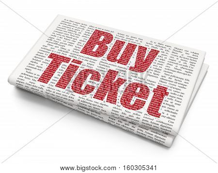 Vacation concept: Pixelated red text Buy Ticket on Newspaper background, 3D rendering