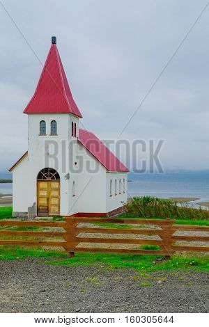 Countryside And A Secluded Church In The West Fjords Region