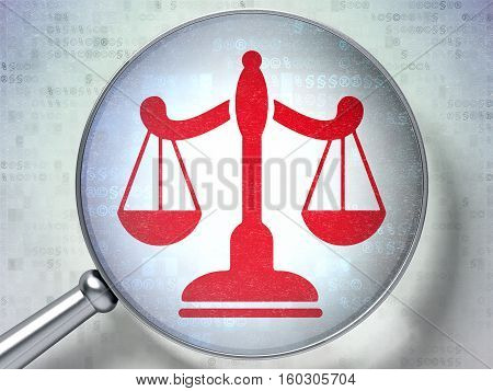 Law concept: magnifying optical glass with Scales icon on digital background, 3D rendering