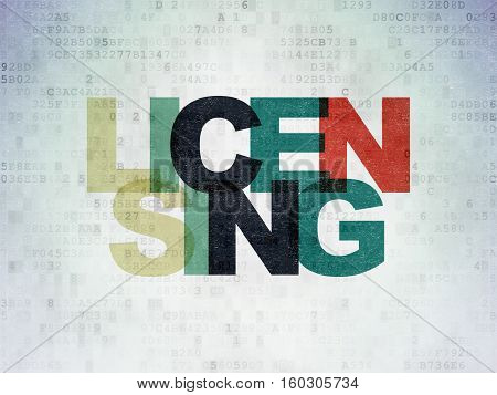 Law concept: Painted multicolor text Licensing on Digital Data Paper background