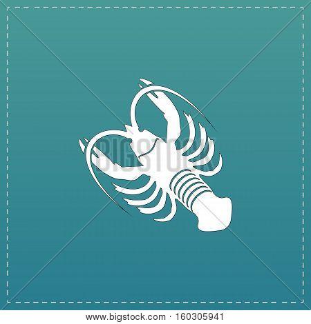 Crawfish. White flat icon with black stroke on blue background