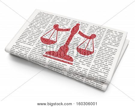 Law concept: Pixelated red Scales icon on Newspaper background, 3D rendering
