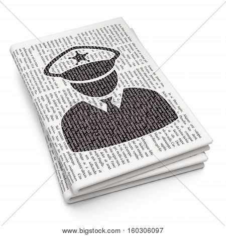 Law concept: Pixelated black Police icon on Newspaper background, 3D rendering
