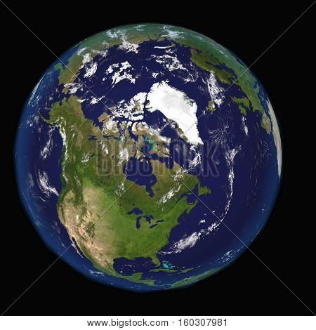 North America Canada USA from space 3d image