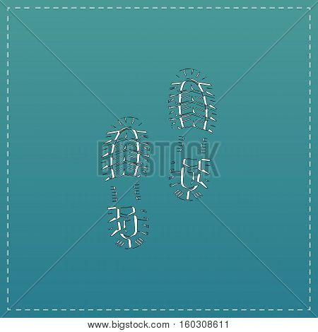 Clean shoe imprints. White flat icon with black stroke on blue background