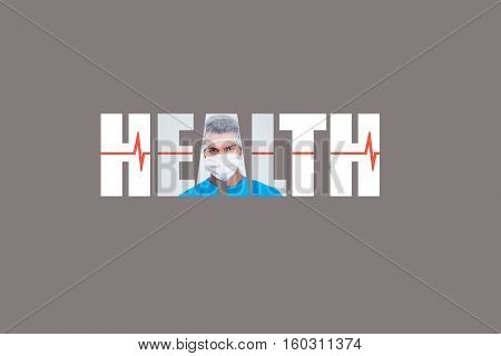 Word HEALTH - concept fabric texture with medic in background