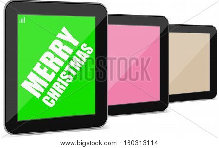 Smart Phone With Merry Christmas Greetings On The Screen, Holiday Card