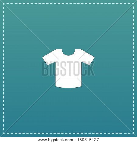 Tee-shirt design template. White flat icon with black stroke on blue background