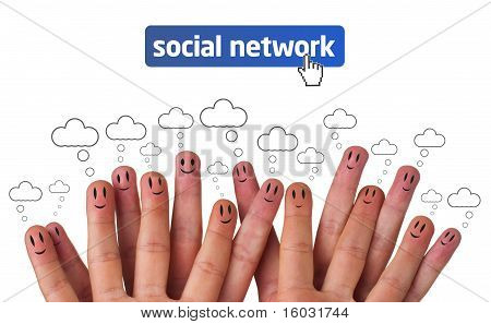 Happy Group Of Finger Smileys With Social Network Icon