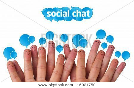 Happy Group Of Finger Smileys mit sozialen Chat anmelden