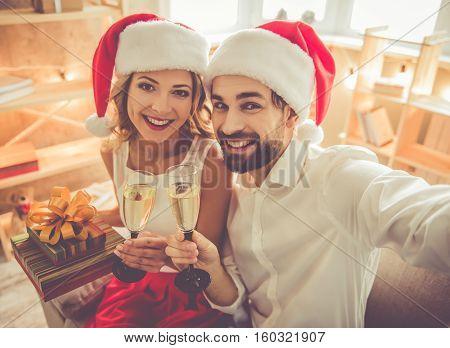 Beautiful Couple Celebrating Christmas
