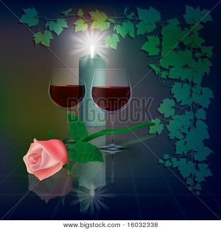 Abstract Illustration With Wineglasses And Candle