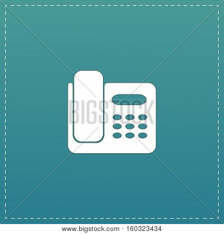 Fax machine. White flat icon with black stroke on blue background