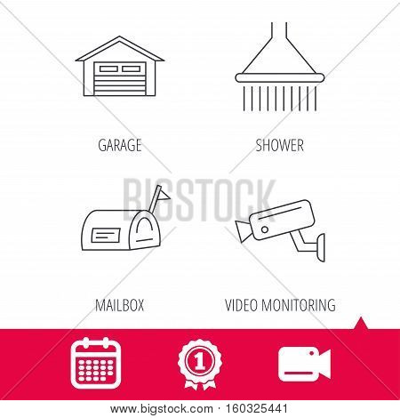 Achievement and video cam signs. Mailbox, video monitoring and garage icons. Shower linear sign. Calendar icon. Vector