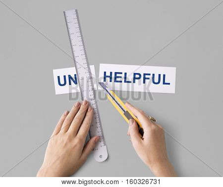 Unhelpful Hands Cut Word Split Concept
