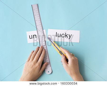 Unlucky Unfortunately Hands Cut Word Split Concept