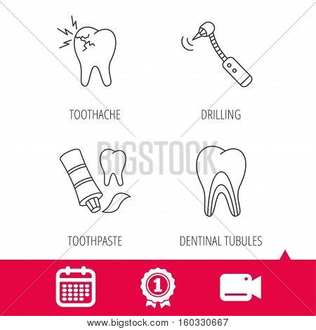 Achievement and video cam signs. Toothpaste, dental tubules and toothache icons. Drilling tool linear sign. Calendar icon. Vector
