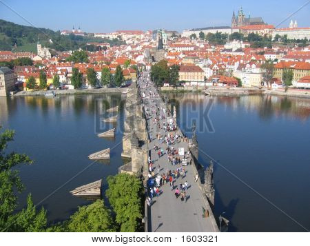 Charles Bridge, View From The Tower. Prague, Czechia.