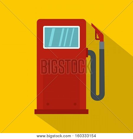 Red gasoline pump icon. Flat illustration of red gasoline pump vector icon for web isolated on yellow background