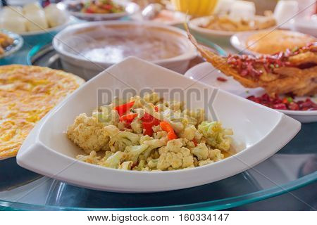 Huge Amount Of Food On The Table For Dinner Time Or Lunch In Restaurant