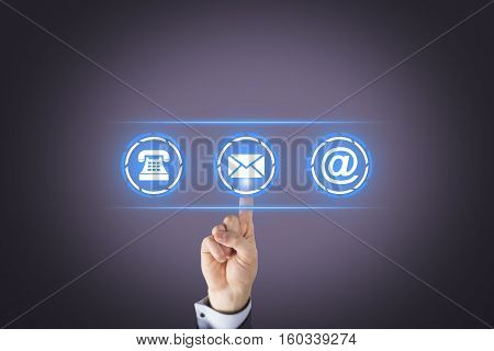 Business Person Contact Us Button on Visual Screen