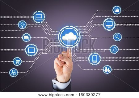 Human Hand Touching Cloud Computing Concepts on Visual Screen