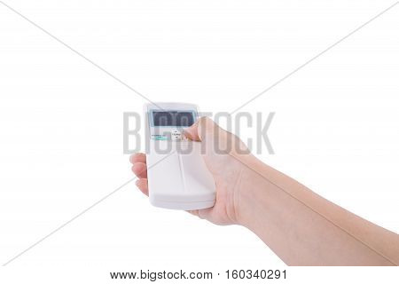Hand With Air Conditioner Remote Control Isolated On White