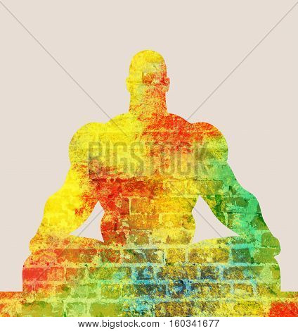 Muscular man sit in meditation pose. Cutout silhouette. Ancient brick wall texture. Multicolor brush painting. Double exposure