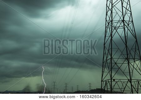 High Voltage Power Lines During A Storm