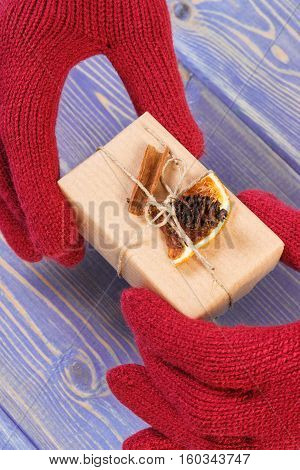 Hands Of Woman In Gloves With Decorated Gift For Christmas Or Other Celebration