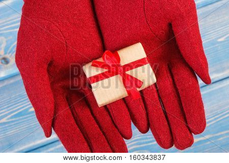 Hands Of Woman In Gloves With Gift For Christmas Or Other Celebration