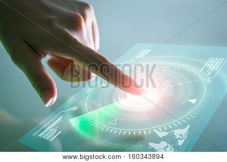 Business hand touching data screen. technology concept.