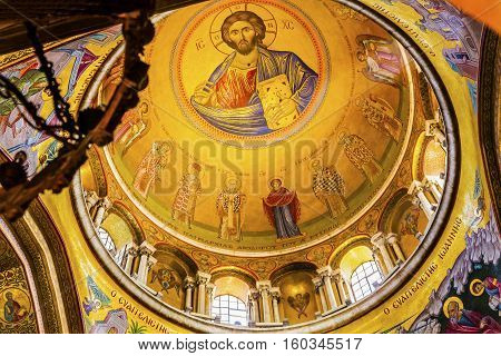 JERUSALEM, ISRAEL - NOVEMBER 18, 2016 Jesus Catholikon Dome Crusader Church of the Holy Sepulchre Jerusalem Israel. Church expanded in 1114 to 1170 AD contains Jesus Tomb and Golgotha Crucifixion site. Church site of resurrection and crucifixion