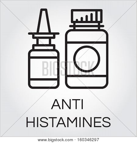 Two medical bottles antihistamines. Icon in outline style. Label of medicine. Simple line logo for button desing, websites or mobile apps. Vector contour graphics