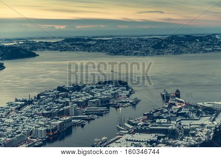 panoramic view from the observation deck at Bergen, Norway