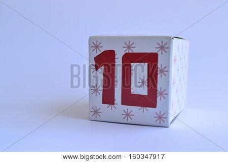 Number 10 ten written on a cardboard box