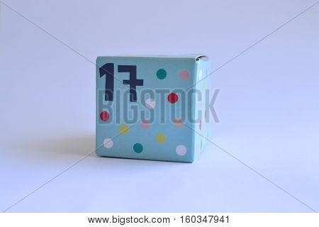 cardboard box with 17 seventeen printed on it