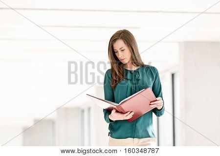 Young businesswoman reading file in new office