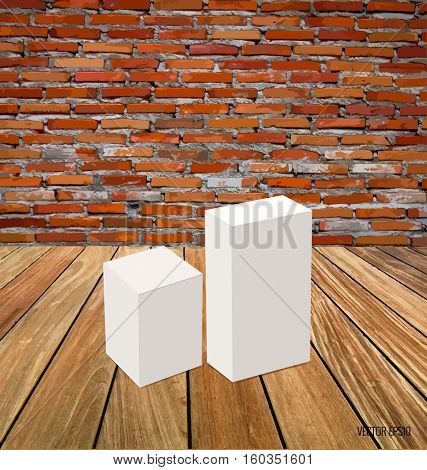 Blank white box mock up on wood background. Vector illustration.