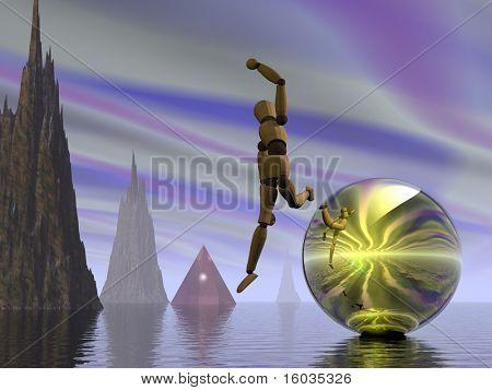 Manikin leaping in fantastic landscape