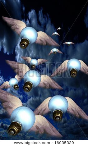 Winged lightbulbs in flight. Ideas take flight.