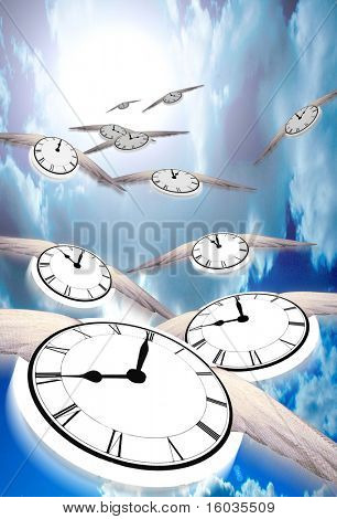 Time Flies...  Winged clocks count off the hours as they fly into the distance