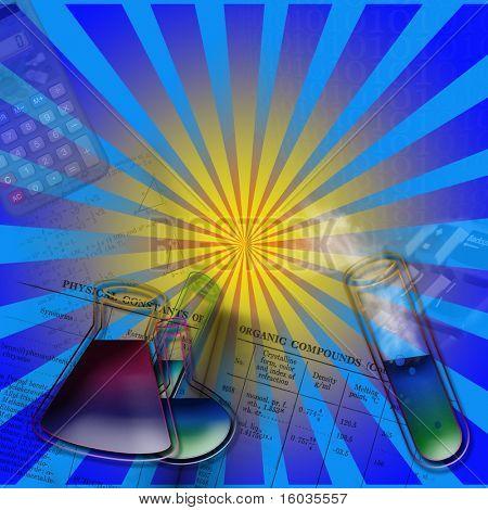 Un montaje pop de elementos coloridos inferir el tema de la ciencia o química