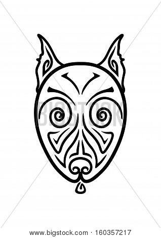 American Pit Bull Terrier Dog head stylized hand drawing Maori tattoo (Body art ethnic ornamental dog head pattern)