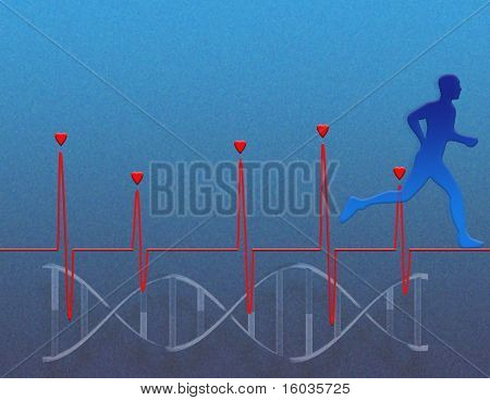 Represents heart health, exercise and genetics