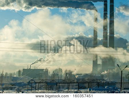 Pipe With Smoke. Heat Energy Network. Chp. Combined Heat And Power, A System In Which Steam Produced